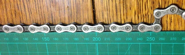 Длина 10 звеньев цепи 254 миллиметра