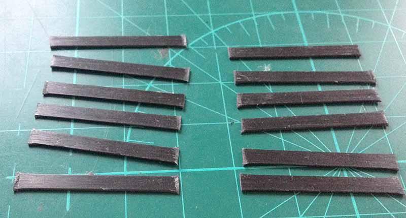 Нарезанные карбоновые пластинки для каркаса жесткости