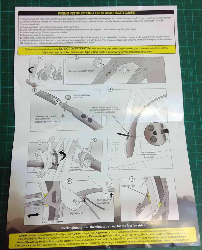 Оригинальная очень краткая инструкция по сборке крыльев CRUD ROADRACER MKII