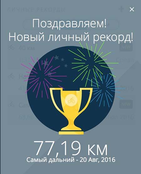 Рекорд расстояния 77 км