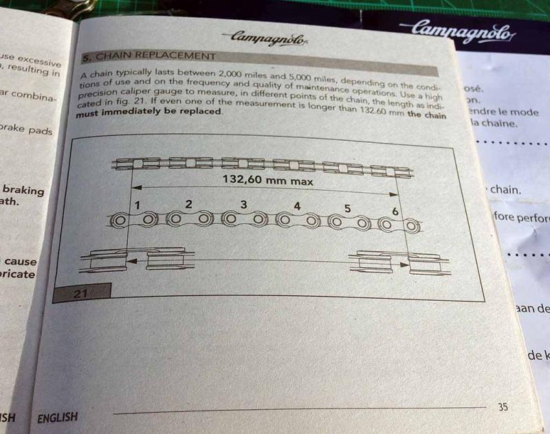 Самая важная странца инструкции с замерами износа цепи CAMPAGNOLO RECORD