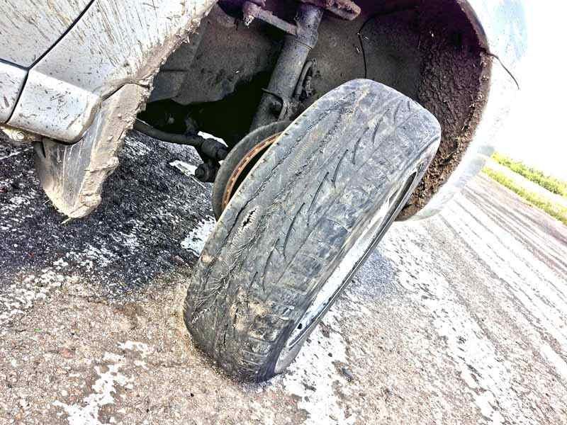 Взорвавшееся на тренировке колесо