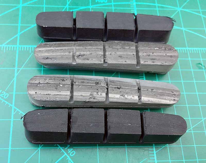 Сточенные и новые тормозные колодки Cane Creek SCR-3