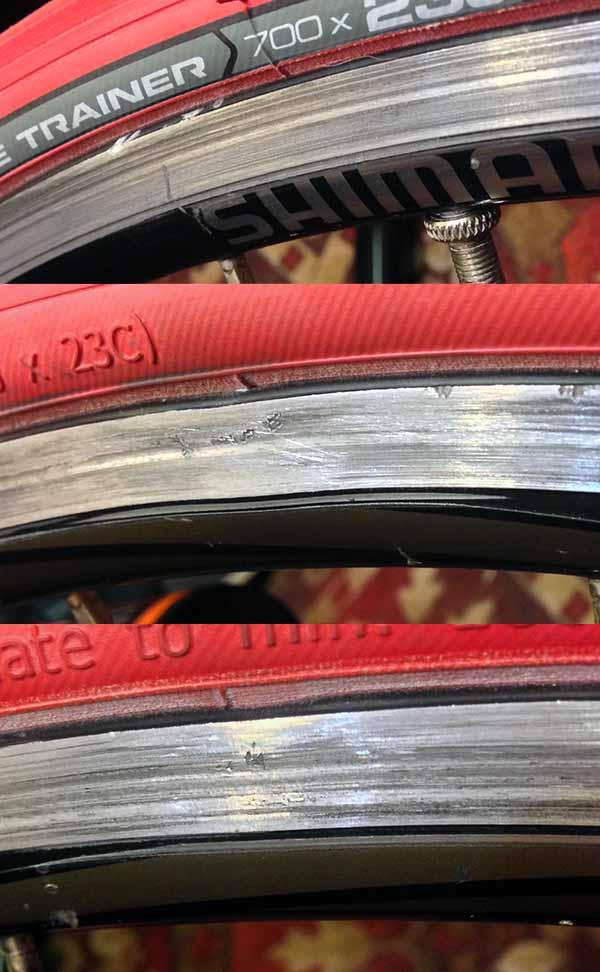 Замятый велосипедный обод Shimano WH-R500