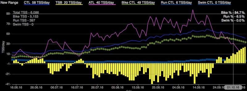 WKO4 график двух месяцев тренировок до увеличения ПАНО