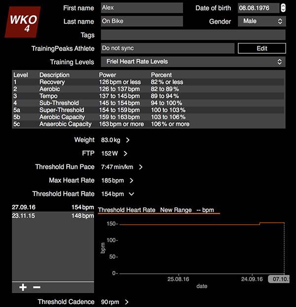 WKO4 изменение в Treshold Heart Rate - пороге анаэробного обмена ПАНО или лактатного порога