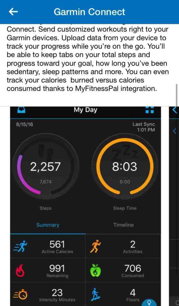 Garmin Connect, подключенный к калькулятору калорий для сброса веса MyFitnessPal