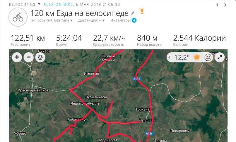 Тренировка в зоне пульса для жиросжигания - велосипед, 5.5 часов 122 километра 2500 калорий